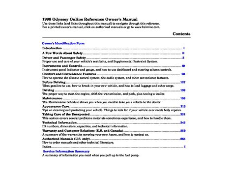 car service manuals pdf 1998 honda odyssey engine control 1998 honda odyssey owner s manual car maintenance tips