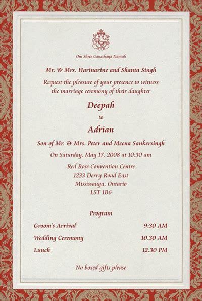 wedding card templates hindu hindu printed sles
