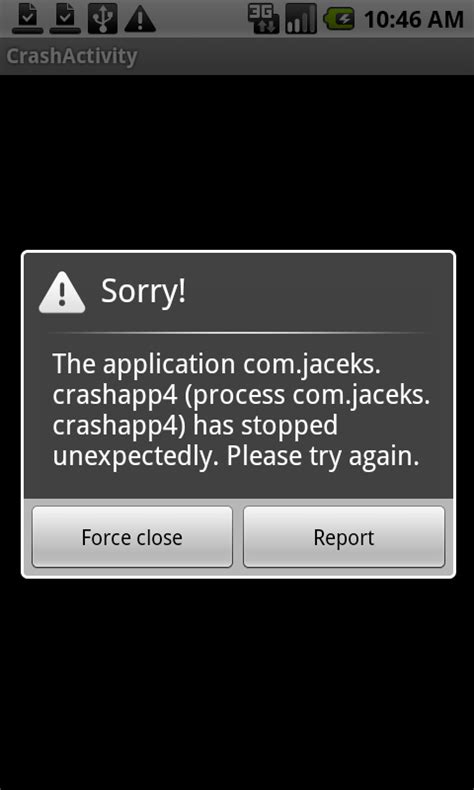 android crash il crash sistema operativo android