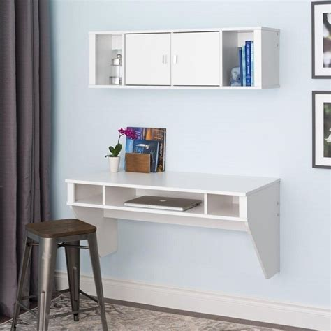 white floating desk designer floating desk and hutch set in white wrhw 0501 2m
