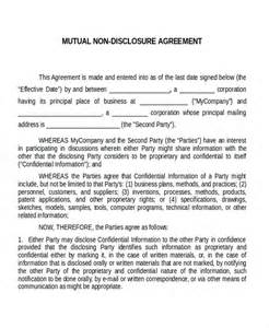 Non Disclosure Agreement Template by 12 Non Disclosure Agreement Templates Free Sle