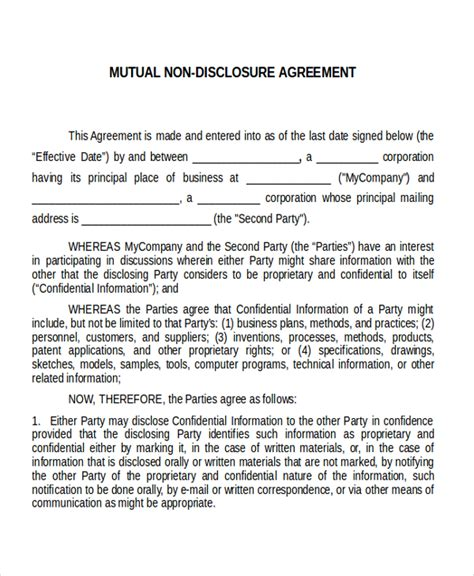 nda confidentiality agreement template 12 non disclosure agreement templates free sle