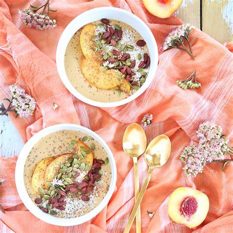 homemade flower food recipe justinecelina superfood peach pie smoothie bowls justinecelina