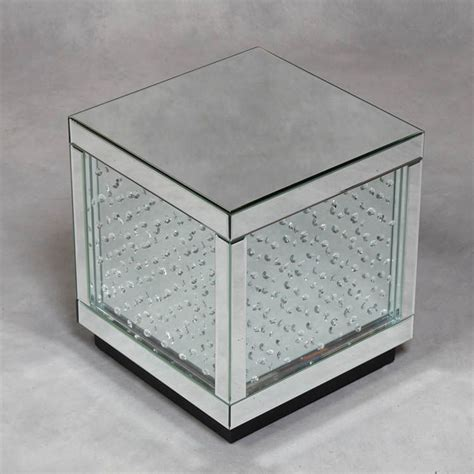 mirrored cube end table mirrored glass cube with detailing fantastic