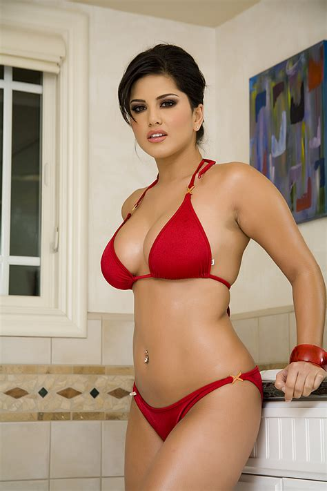 sunny bathroom photo sexy sunny leone in red bikini in bath room hq photo shoot