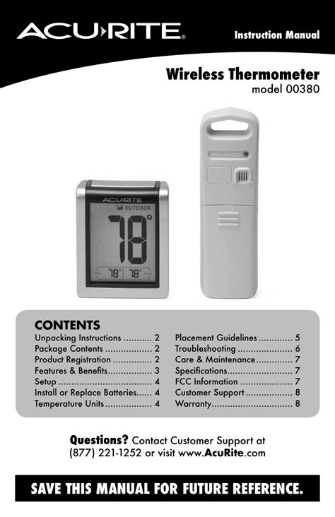 Termometer Manual acurite 00380 thermometer user manual 10 pages