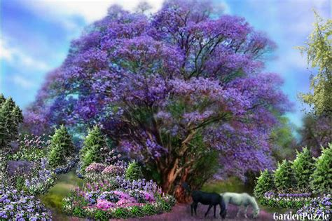 horses grazing by a lavender tree gardenpuzzle online garden planning tool