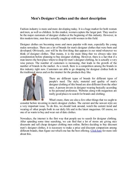 fashion design brief description men s designer clothes and the short description