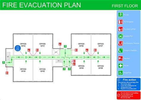 fire evacuation floor plan fire extinguisher cad symbol