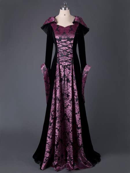 black  purple velvet vintage medieval hooded dress