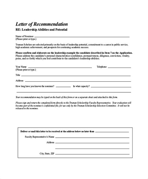 Truman Scholarship Letter Of Recommendation Sle Letter Of Recommendation For Scholarship 29 Exles In Word Pdf