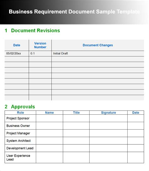 business document templates 11 business requirements documents free pdf excel templates