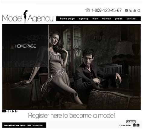 Model Agency Easy Flash Website Template Free Model Agency Template