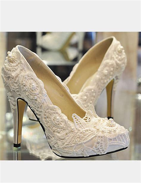 Handmade Wedding Shoes - handmade lace white wedding shoes pumps on sale