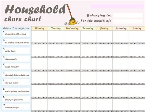 house chart template free printable chore charts for activity shelter