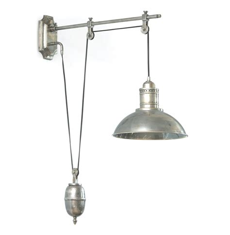 Pulley Sconce vintage pulley pewter nickel wall sconce kathy kuo home
