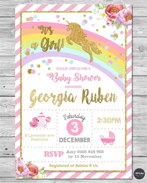 Personalised Baby Shower Invites by Unicorn Baby Shower Personalised Invitations Invite Card