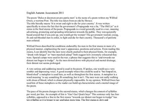 Wilfred Owen Dulce Et Decorum Est Essay by Dulce Et Decorum Est Analysis Essay Writefiction581 Web Fc2
