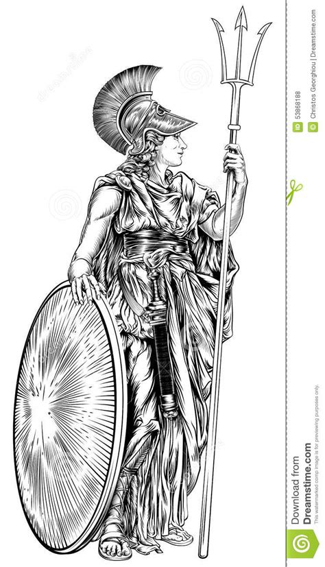 athena greek goddess stock vector image 53868188