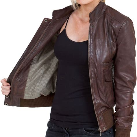 Jaketexpress Boomber Brown Jacket Boomber brown leather bomber jacket womens coat nj