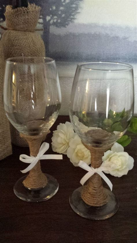 Rustic Wine Glasses Set Of Wine Glasses Decorated With Twine For A