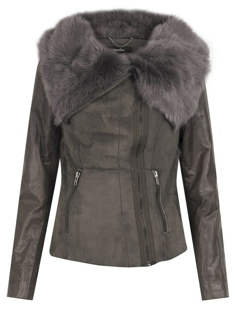 shearling drape jacket havana drape shearling jacket in storm grey