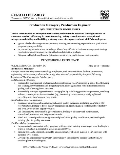 production supervisor resume samples resume template