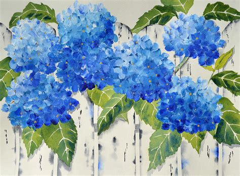 acrylic painting hydrangea fenced in flowers painting by carol bruno