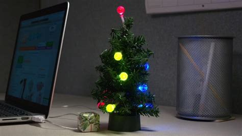 usb mini led christmas tree tiny tinsel tree powered by usb