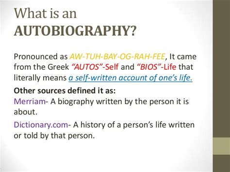 biography sources definition an introduction to autobiography and biography