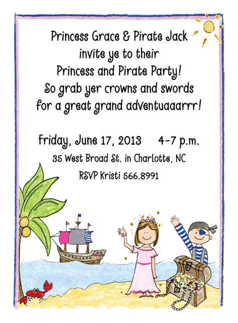 princess and pirate invitations princess and pirate invitations by adele