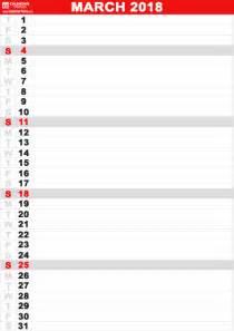 Calendar 2018 Printable Vertical Printable March 2018 Calendar Calendar Table Calendar Table
