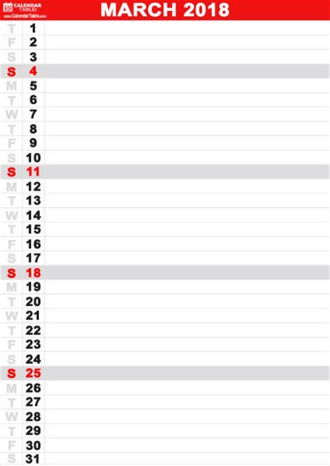 printable calendar vertical list printable march 2018 calendar calendar table calendar table