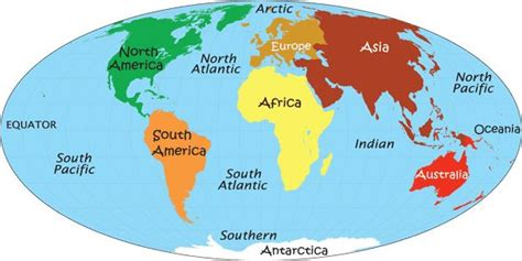 world map  continents  oceans labeled world map
