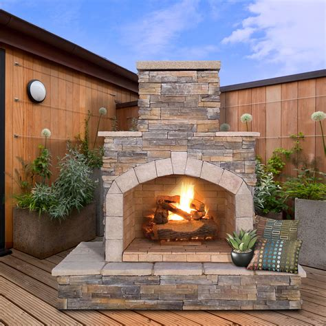 cal flame natural stone 78 in outdoor fireplace
