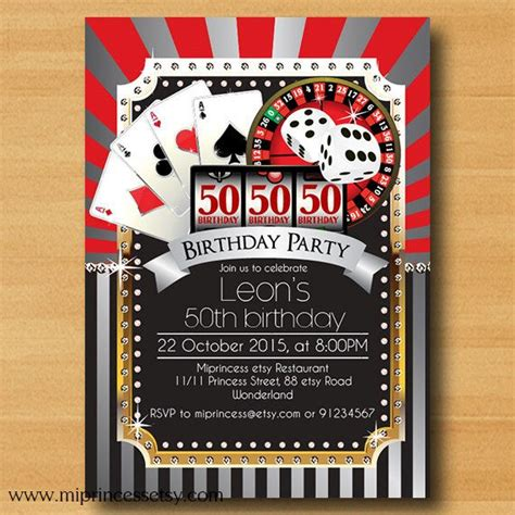 casino birthday card template casino invitation birthday invitation