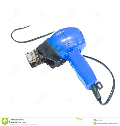 Hair Dryer Electric Shock hair dyer damaged by electric burn stock photo image 48191792