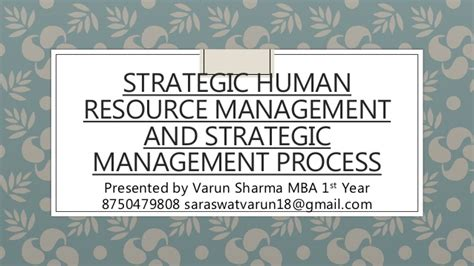 Mba Strategic Human Resource Management by Strategic Human Resource Management And Strategic