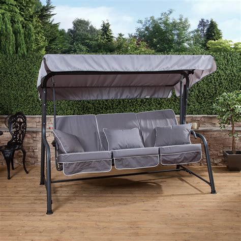 swing seat charcoal turin 3 seater reclining swing seat with luxury
