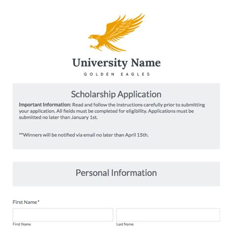 Education Forms Templates Formstack Scholarship Email Template