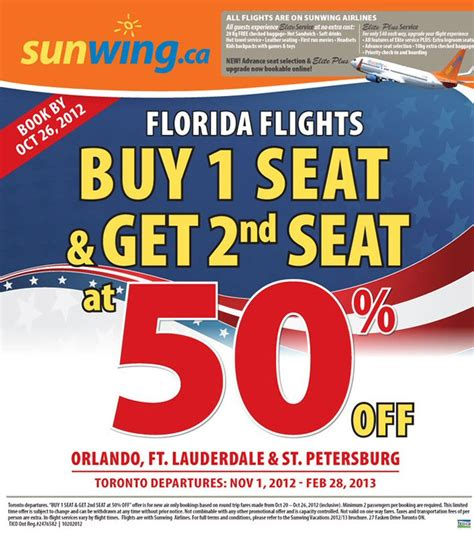 sunwing free seat selection save more with sunwing s bogo offer on flights to florida