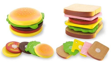 Kid Jp Mkburgers make burger and sandwich with wooden velcro kitchen playset pretend play for with toys