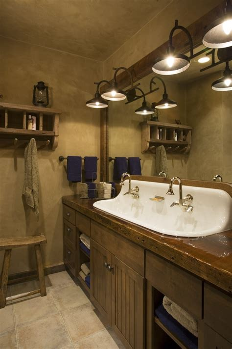 castiron 4 sink rustic mountain lodge bathroom wood