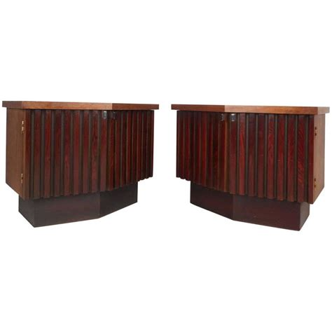 Mid Century Modern Nightstands For Sale by Mid Century Modern Rosewood And Walnut Nightstands For