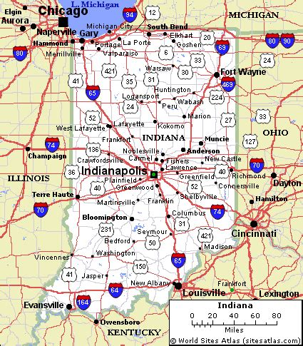 printable indiana road map map of indiana