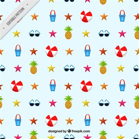 svg pattern object cheerful pattern with summer objects vector free download