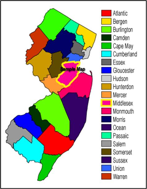 nj counties map njdep new jersey geological and water survey dgs07 1
