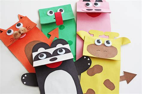 How To Make Puppet With Paper - paper bag jungle animal puppets