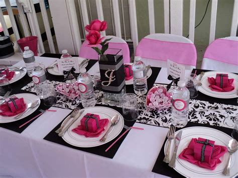 hot pink themes hot pink black and white baby shower party ideas photo