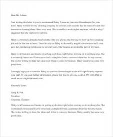 Reference Letter Housekeeper Sle Letter Of Recommendation 20 Free Documents In Word Pdf